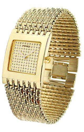 Moog Paris Luxury Damen Uhr mit Champagner Zifferblatt, Swarovski Elements & Goldenem Armband aus Edelstahl - M46056F-003