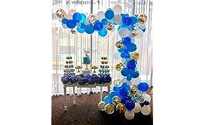 PuTwo Palloncini Compleanno 70 Pezzi Palloncini di Lattice e Palloncini di Coriandoli Palloncini Elio Addobbi per Compleanno Baby Shower Natale Matrimonio Nuziale - Blu & Bianco & Oro
