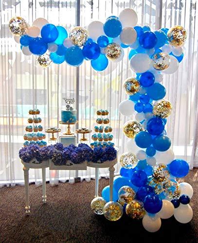 PartyWoo Luftballons Blau Weiss, 70 Stück 12 Zoll Luftballons Blau, Hellblau Luftballons, Luftballons Weiß und Konfetti Luftballons Gold, Luftballons Blau Gold für Royal Geburtstag, Babyshower Junge (Latex-luftballons Royal Blau)