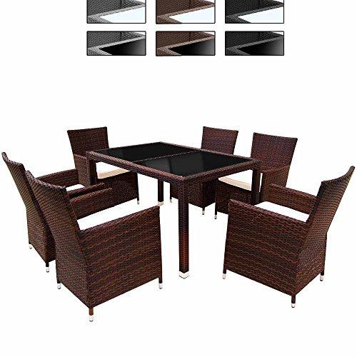 Miadomodo Elegante 6+1 Polyrattan Aluminium Sitzgarnitur Rattan Gartenmöbel Set in der Farbe Ihrer Wahl inkl. Kissen und 2 Glasplatten in Schwarz oder Milchweiß