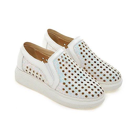 VogueZone009 Damen Gemischte Farbe Blend-Materialien Rund Zehe Ziehen Auf Pumps Schuhe Weiß