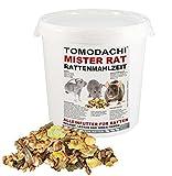 Rattenfutter, Rattennahrung mit tierischem Eiweiß, Alleinfutter für Ratten mit Bachflohkrebsen (Gammarus), leckerem Gemüse, Körnern und Saaten, Tomodachi Mister Rat Rattenmahlzeit 3kg Eimer