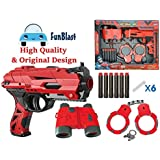 FunBlast High Speed Manual Soft Bullet Gun with 6 Foam Bullets, Handcuffs and Telescope.