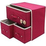 Krevia Folding 3 Drawer Fabric Storage Box Organizer For Clothing Jewelry ,Underwear Socks Ties Bra Etc (1 Pcs) (Colour May Vary)