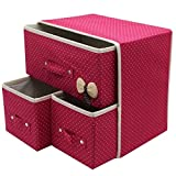 #6: Krevia Folding 3 Drawer Fabric Storage Box Organizer For Clothing Jewelry ,Underwear Socks Ties Bra Etc (1 Pcs) (Colour May Vary)