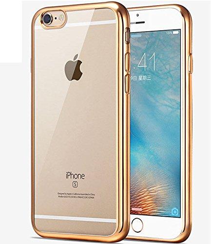 Coque iPhone 7,Étui iPhone 7,Coque Étui Case pour iPhone 7,ikasus® Coque iPhone 7 Silicone Étui Housse Téléphone Couverture TPU Clair éclat crystal TPU silicone transparent chromé platingUltra Mince P Gold