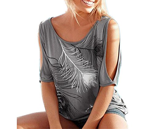 Hippolo Federdruck Rundhals trägerlos Frau große Yards Kurzarm T-Shirt Hemd (L, Grau)
