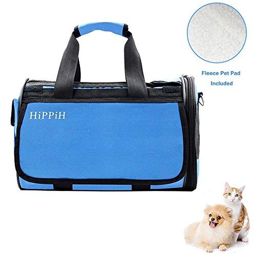 Hippih Transporttasche für Haustiere - Pet Carrier für Hunde & Katzen Comfort Fluggesellschaft zugelassen Travel Tote Weiche Seitenteile Tasche (Tote-maßnahmen)