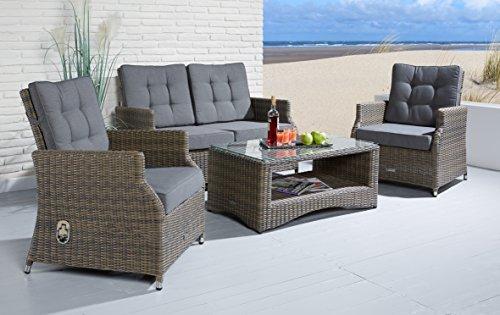 Wholesaler GmbH Sitzgruppe Sienna 4 tlg. grau mit 2 Sessel Sofa und Sofatisch Gartenmöbel