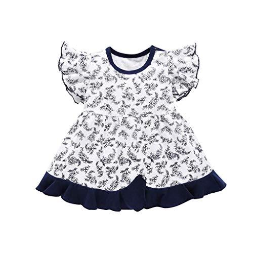 y Mädchen Kleid Blumendruck-Kurzarm-Party Prinzessin Kleid Urlaub Sommer Strandkleid Outfit Kleidung ()
