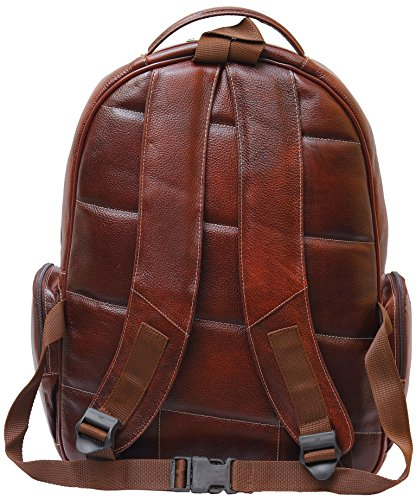 BRAND LEATHER 20 Ltrs Brown Leather Laptop Backpack Image 4