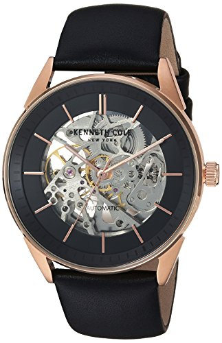 Kenneth Cole New York Men's Automatic Stainless Steel and Leather Casual Watch, Color:Black (Model: KC50192001)