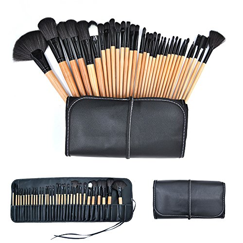 Stück 3 Set Kosmetik Tasche (Make up Pinsel Set natürliche Kosmetik Pinsel Set 32 Stück synthetische Stiftung Blending Brush mit Schönheit Falten, Tasche)