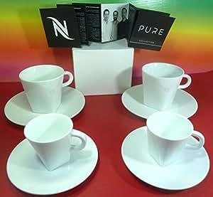 nespresso pure collection 4 wei porzellan tassen mit 4 untertassen 2 lungo tassen 2 espresso. Black Bedroom Furniture Sets. Home Design Ideas