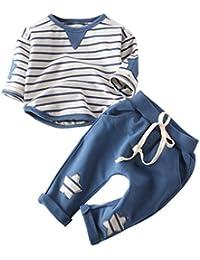 RETUROM Conjuntos de Ropa de Invierno, Casual niños algodón Stipe Camiseta Star Pantalones sólidos