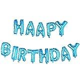 Souarts Ballon Buchstaben happy birthday in Blau Farbe Ballon für Geburtstag Party Geschenk Dekoration Folienballon Luftballon 1 Set
