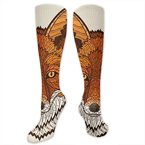 ouyjian Geometric Fox Women&Men Socken Dress Socken Length 19.7in/Width 3.4in Polyester Material Knee High Socken Girls Socken Mid Stockings Personality Socken -