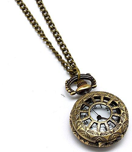 Stile vintage tono oro collana ciondolo alla moda Orologio da donna in ottone