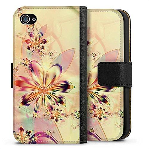 Apple iPhone X Silikon Hülle Case Schutzhülle Blumen Muster Abstrakt Sideflip Tasche schwarz