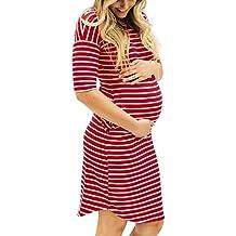 BBsmile ropa premamá vestido de embarazada para foto fiesta primavera básica corto largo O-cuello