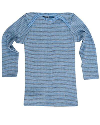 Cosilana, Baby Schlupfhemd Langarm, 45% KBA Baumwolle 35% kbT Wolle, 20% Seide (62/68, Hellblau/Braun/Natur) -