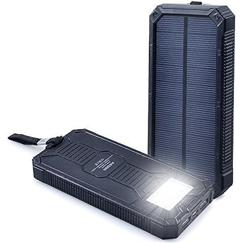 Aedon A3 Batteria Esterna da 15000mAh - Powerbank Portatile a Pannelli Solari Doppia Porta USB Caricabatteria Solare Caricatore del Telefono con Luci LED Carica per L'emergenza Cellulari Tablet Fotocamera, Impermeabile, Antipolvere e Resistente Alle Cadute (Nero)