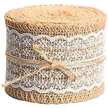 Cinta de Arpillera Natural Rollo de Cinta de Encaje Blanco, 156 Pulgadas