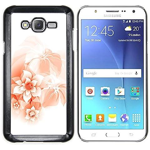 Samsung Galaxy J7 (2016) / J710 - Metal de aluminio y de plástico duro Caja del teléfono - Negro - Arte floral del melocotón Trópico de primavera