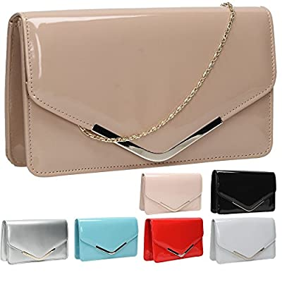 Sara Patent Leather Envelope Womens Party Prom Ladies Clutch Bag - SWANKYSWANS