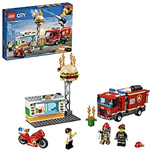 LEGO CityFire FiammealBurgerBar, Set da Costruzione con Camion e Moto,Minifigura del Vigile del Fuoco e Accessori dell'Unità Antincendio, 60214  LEGO