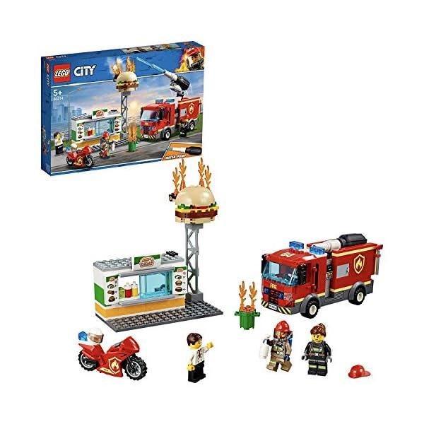 LEGO City Fire Fiamme al Burger Bar con 3 Minifigures, Una Autopompa dei Pompieri con Lancia Elementi Acqua, Set di… 1 spesavip