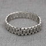 RUGND Armband Wide President Crown - Schnalle DREI Perlen Mit Riemen Hochgold - Titanarmband Aus Stahl Crown Armband