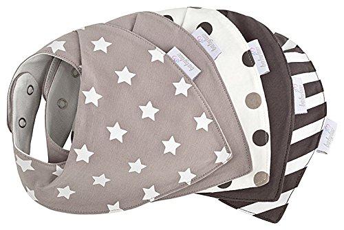 Baby Halstuch Set 5 Stück, Wasserdicht, Dreieckstuch aus Baumwolle, Farben Grau - Weiß, Baby-Lätzchen - Spucktuch - Sabberlätzchen (Grau Weiß)