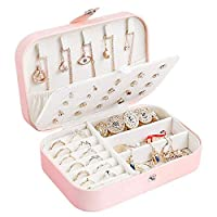 Centtechi Jewellery Box Organiser, Small Travel PU Leather Jewelry Storage Case for Rings Earrings Necklace Bracelets Jewelry Gift Box for Girls Women