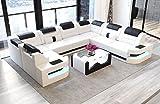 Sofa Dreams Leder Wohnlandschaft Como U Form Weiss-schwarz