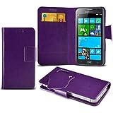 (Purple) Samsung Ativ S I8750 Caso fino estupendo Faux Leather succión Pad Monedero piel de la cubierta con el crédito / débito ranuras para tarjetasBy ONX3