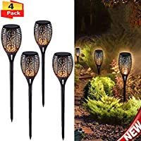 Fnova 51 LED Solar Torch Light with Flickering Flames, Waterproof Outdoor Landscape Decoration Lighting for Garden Landscape Path Driveway Lamp (4 Pack)
