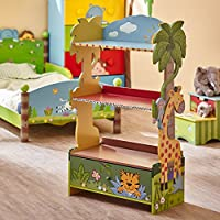 Fantasy Fields - Sunny Safari animals themed Book Case Kids Wooden Bookcase with Storage Drawer| Hand Crafted & Hand Painted Bookshelf | Child Friendly Water-based Paint