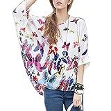 Owbb® Weiß Schmetterling Batwing Ärmel Lose Mädchen Damen Chiffon Pullover Bluse T-shirt Bohemien Strand Stil Tunika