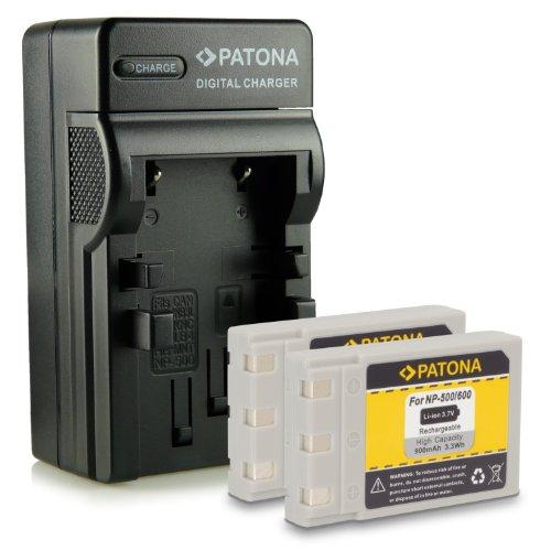 4in1 Caricabatteria + 2x Batteria DR-LB4 NP-500 NP-600 per Konica Minolta Digital Revio KD-310Z KD-400Z KD-410Z KD-420Z KD-500Z KD-510Z KD-520 Dimage G400 G500 G530 G600 Praktica EXAKTA DC 4200