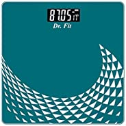 Dr. Fit Glass Top Electronic Digital Weighing Scale (Blue)