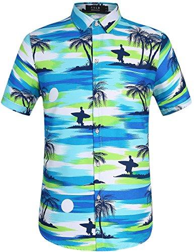 me Druck Sommer Strand Kurzarm Hawaii Hemd (Large, Blau) (Halloween Hawaii-shirt)