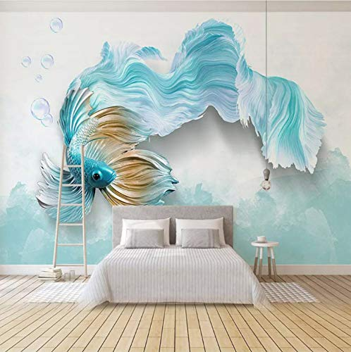 Fototapete Moderne 3D Abstrakte Blaue Vogel Fisch Wandbild Wohnzimmer Tv Sofa Hintergrund Tapeten Für Wände 3D Wohnkultur -