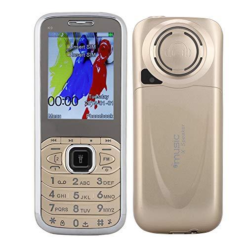 Mavis Laven 2,4-Zoll-Bildschirm 32 MB + 32 MB 1800 mAh Quad-Band-Handy mit externem FM und High-Light-Taschenlampe für Senioren, Golden (Dual Sim Quad-band Entsperrt Handy)