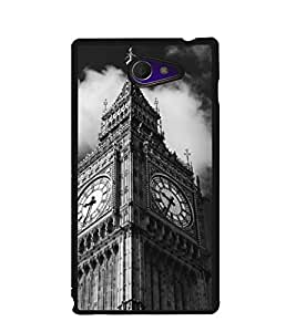 Fuson Premium Clock Tower Metal Printed with Hard Plastic Back Case Cover for Sony Xperia M2