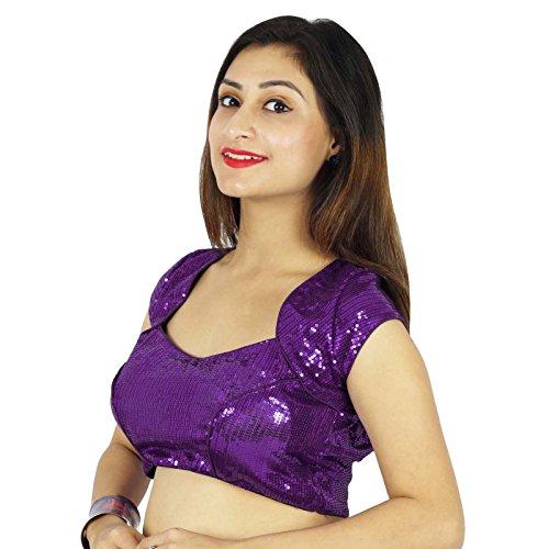 Crop-Top Made Ethnic Women Wear Stitched Dense Sequins Blouse Violet