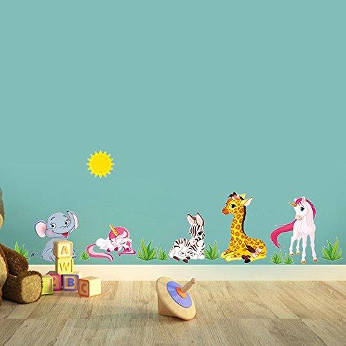 Unicornio y Amigos Animales Pegatinas de Dibujos Animados con Elefante, Jirafa, Cebra, Sol & Hierba Colorida Decorativo Extraíble DIY Vinilo Pared Calcomanías para Cuarto de Niños Mural Dormitorio