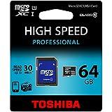 Toshiba SD-C064UHS1BL5A Carte Mémoire Micro SD avec Adaptateur 64 Go