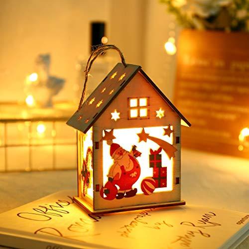 vijTIAN - Piccola casetta in Legno illuminata a LED per Feste, Matrimoni, Decorazioni Natalizie, Decorazione Perfetta per Albero di Natale Fai da T