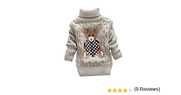 IEUUMLER Maglione Lavorato a Maglia Maglione Autunno//Inverno Bambini Manica Lunga con Collo Alto Maglione Caldo Vestiti Felpa Outwear IE001-2